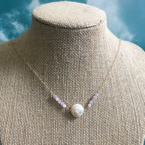 Coin pearl and kunzite necklace goldfill